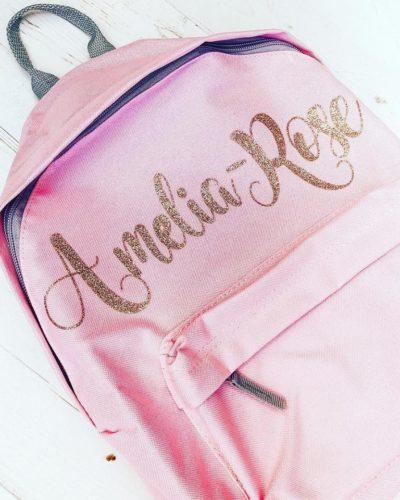 Itty Bitty Pink Personalised Rose Gold Kids Backpacks & Rucksacks