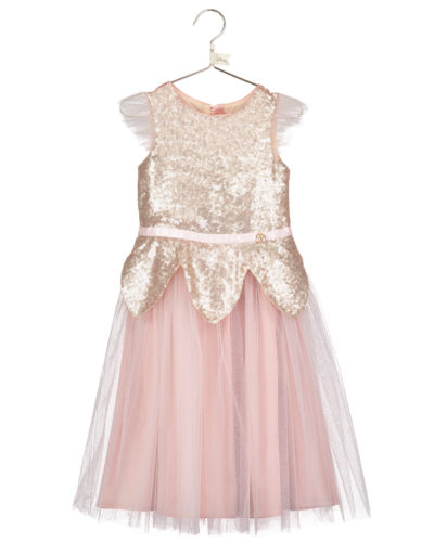 Disney Boutique Tinker Bell Rose gold sequin tulle dress & headband