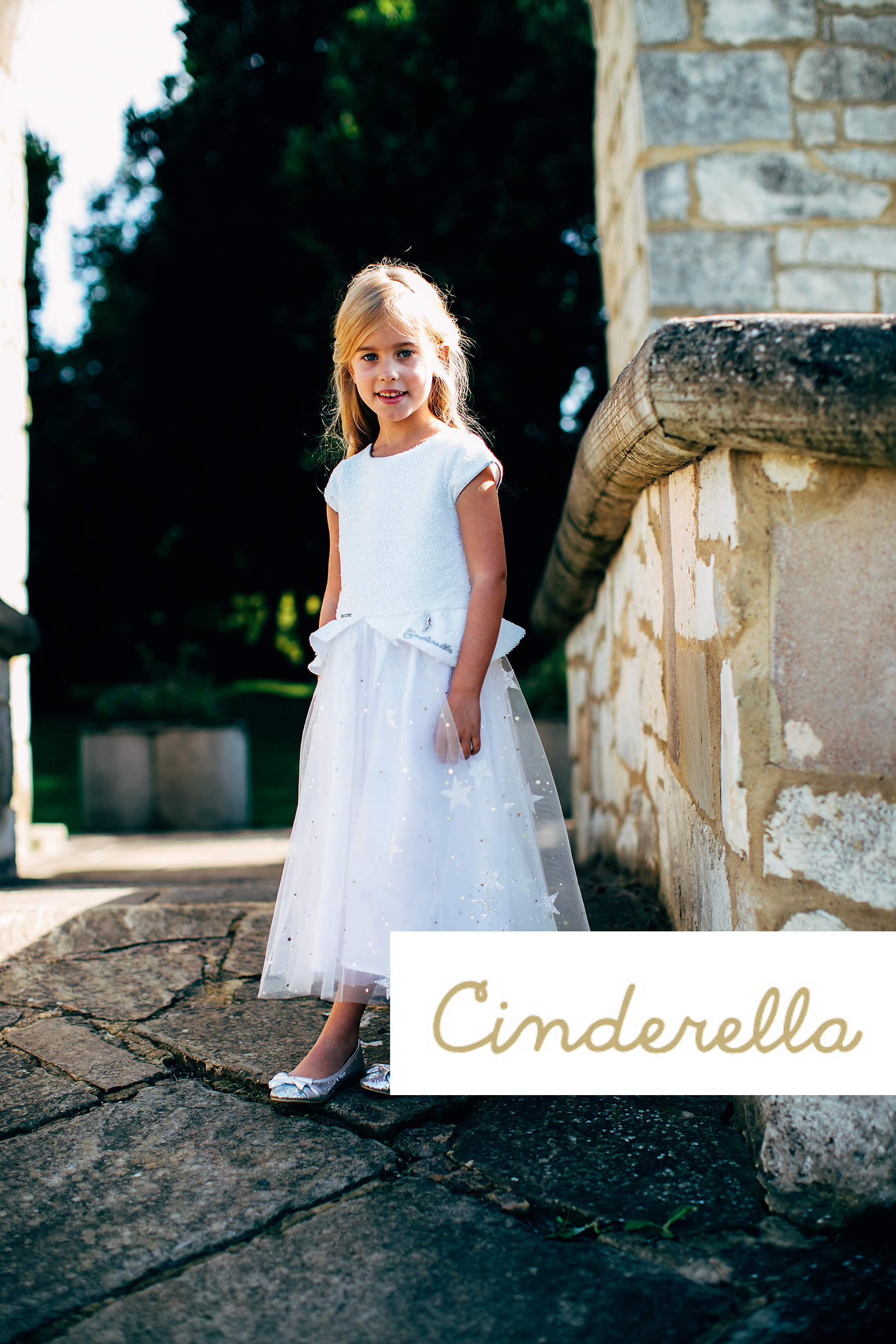 Girls Formal Disney Boutique Cinderella White Star White Sequin Bridesmaid Dress