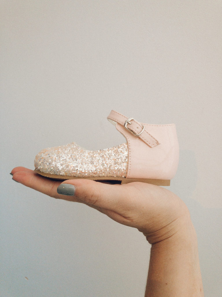 Itty Bitty Hard Soled Glitter Pink Shoes