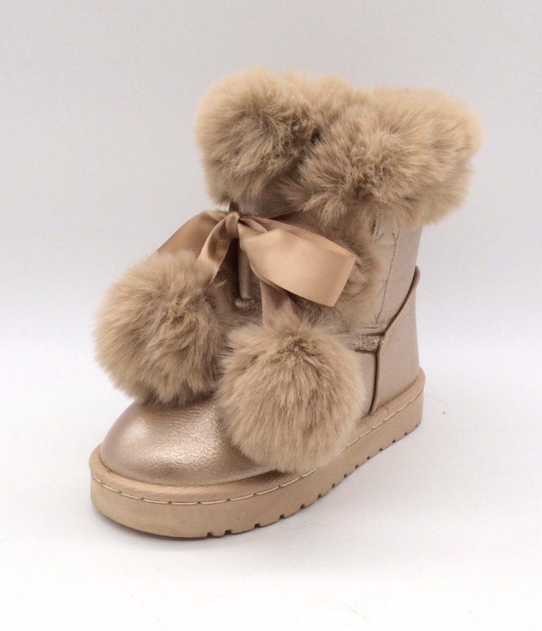 Itty Bitty Gold Pom Pom Fur Boots