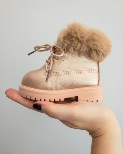 Itty Bitty Limited Edition Rose Gold Winter Fur Boots