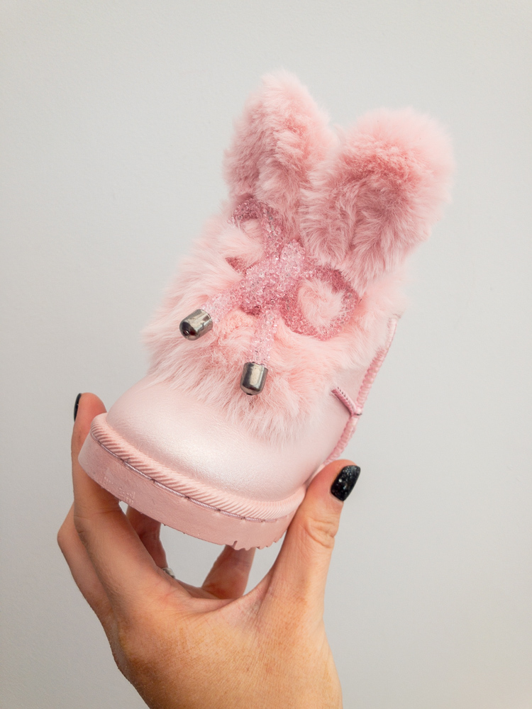 Itty Bitty Limited Edition Pink Bunny Bow Fur Boots