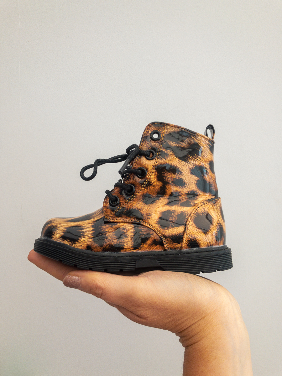 Itty Bitty Patent Leopard Print Boots