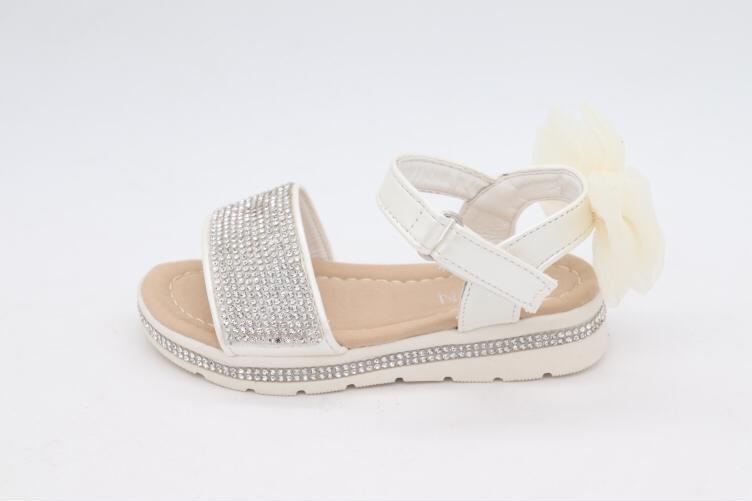 Darcie Diamante White & Cream Bow Sandals