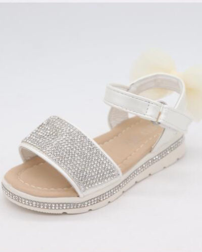 Darcie Diamante White & Cream Bow Sandals