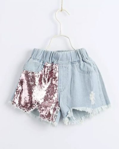 Itty Bitty Pink/Silver Sequin shorts