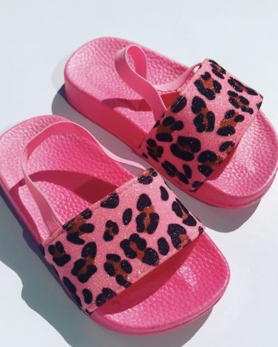Itty Bitty Pink Neon Leopard Glitter Sliders
