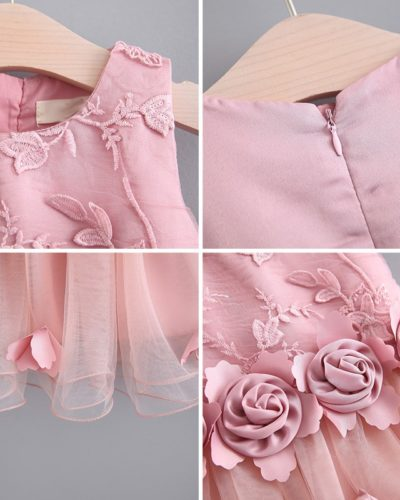 Itty Bitty Rose Summer Pink Floral Dress