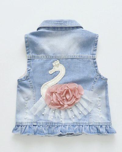 Itty Bitty Princess Swan Denim Jacket