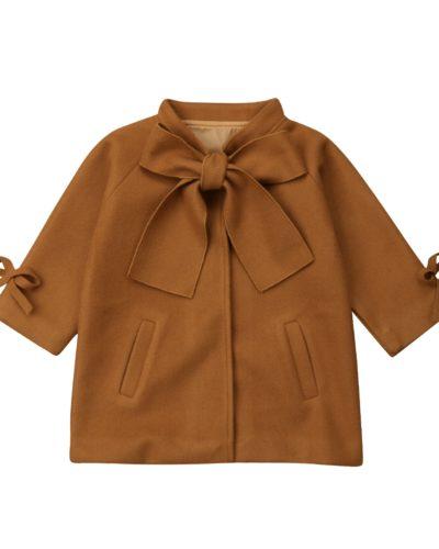 Itty Bitty Brown Wool Bowknot Coat