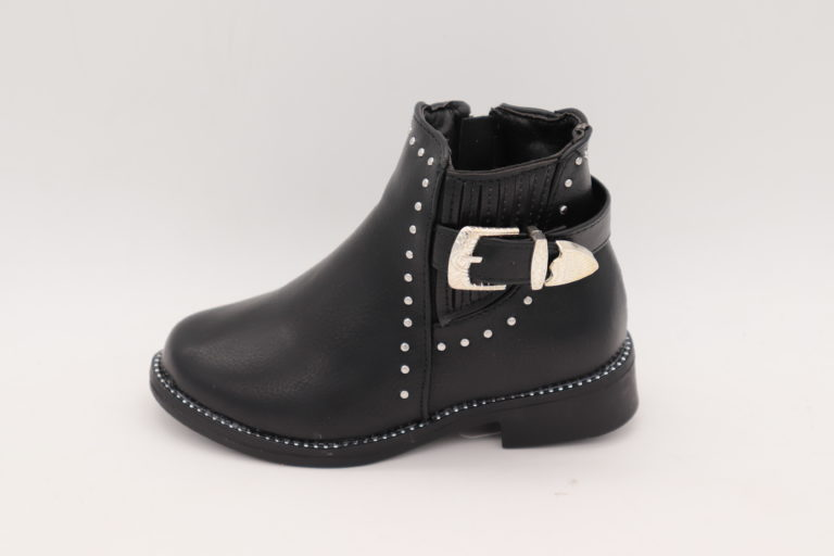 Itty Bitty Black Rockstar Buckle Boots