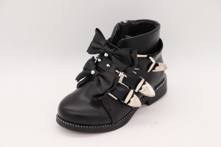 Itty Bitty Black Suede Rockstar Double Bow Buckle Boots