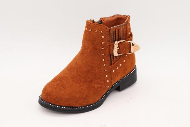 Itty Bitty Gingerbread Suede Rockstar Buckle Boots