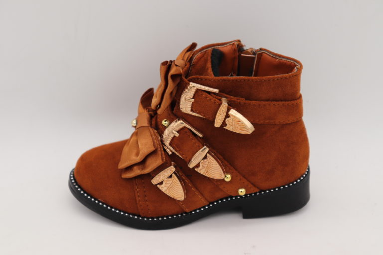 Itty Bitty Gingerbread Suede Rockstar Double Bow Buckle Boots
