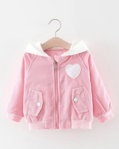 Itty Bitty Pink Heart Corduroy Hooded Jacket