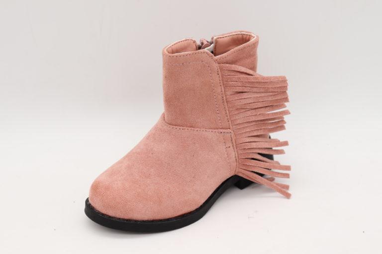 Itty Bitty Pink Suede Tassel Cowboy Boots