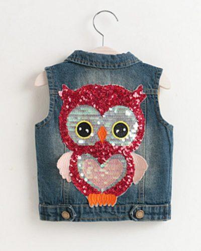 Itty Bitty Sparkle Owl Denim Jacket