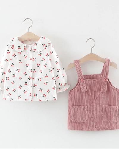 Itty Bitty Girls Cherry & Pink Overalls Set