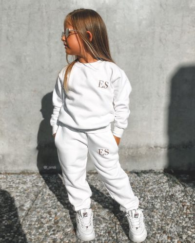 Itty Bitty White & Rose Gold Sparkle Personalised Tracksuit