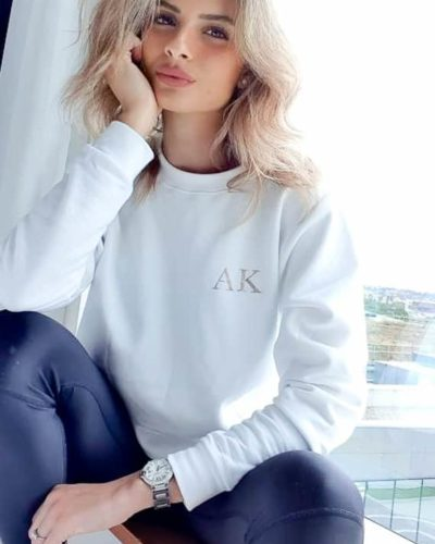 Itty Bitty Women's White & Rose Gold Sparkle Personalised Initial Sweatshirt