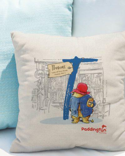 Paddington Bear Initial Linen Cushion