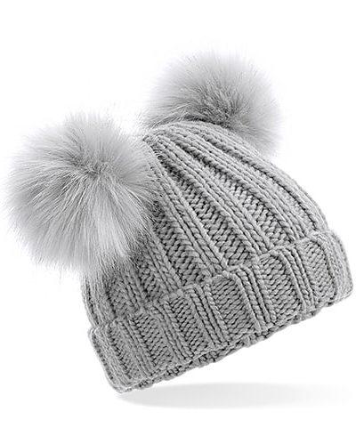 Itty Bitty Alaska Grey Faux Fur Double Pom Pom Beanie Hat