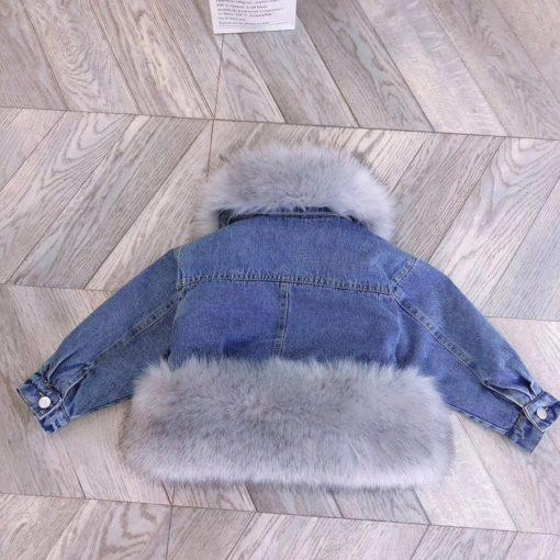 Itty Bitty Denim Faux Fur Snuggle Jacket