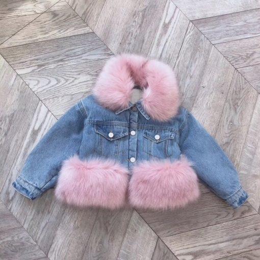 Itty Bitty Pink Denim Faux Fur Snuggle Jacket