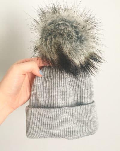 Itty Bitty Cool Grey Pom Pom Beanie Hat