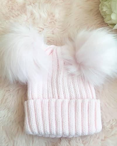 Itty Bitty Princess Pink Double Pom Pom Beanie Hat