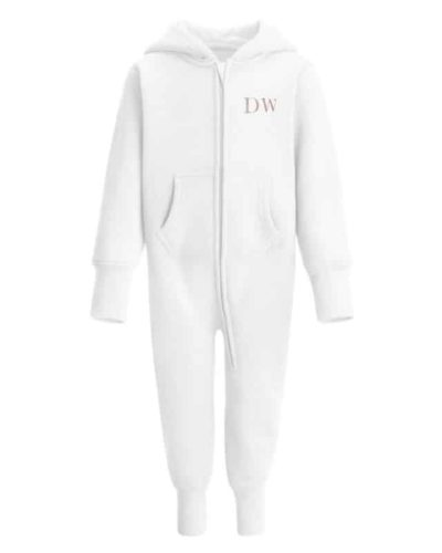 Itty Bitty White & Rose Gold Sparkle Personalised Fleece Onesie