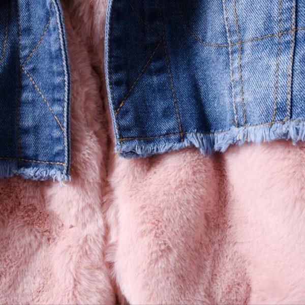 Itty Bitty Pink Faux Fur Super Snuggle Denim Jacket