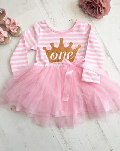 Itty Bitty Pink & White First Birthday Princess Crown Tutu Dress