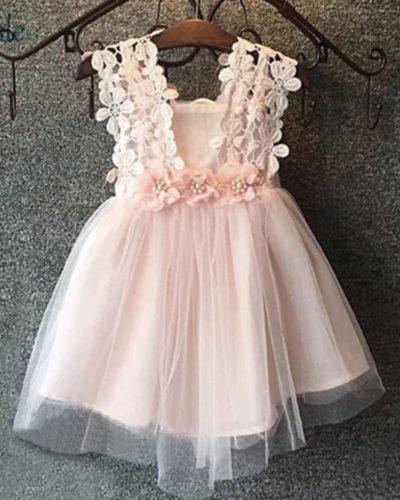 Itty Bitty Pink Lace Flower Dress