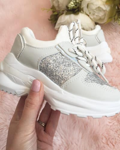 Itty Bitty Silver Triple Sparkle Trainers