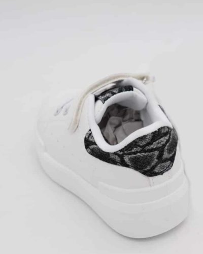 Itty Bitty Black Snakeskin Print White trainers
