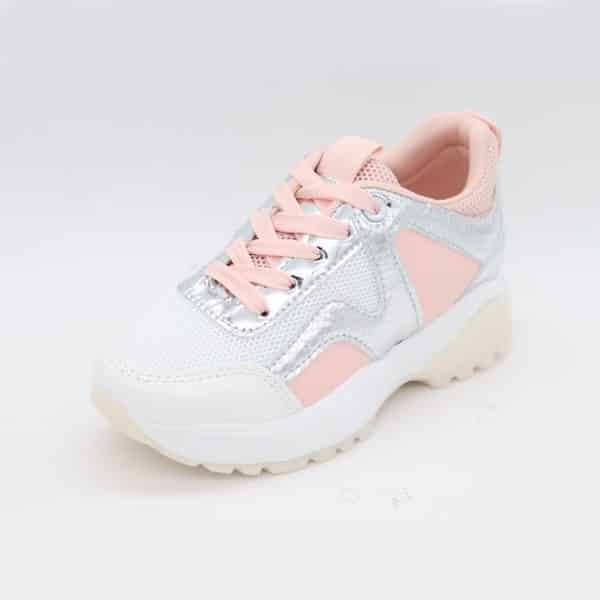 Itty Bitty Pink & White Triple Sparkle Trainers