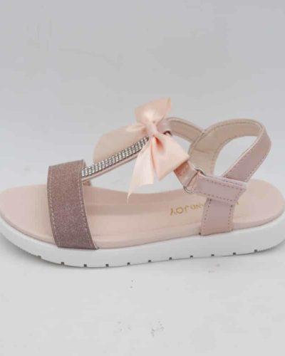 Paloma T Bar Diamante Rose Gold Bow Sandals