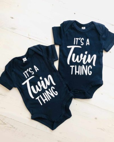 Itty Bitty Navy Blue Twin Thing Rompers