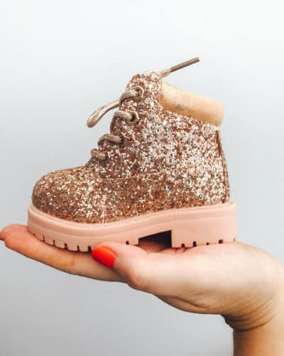 Itty Bitty Rose Gold Sparkle Winter fur boots