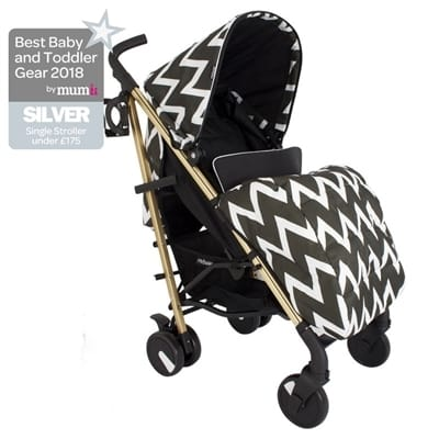 My Babiie MB51 Black and Gold Chevron Stroller Pushchair Buggy