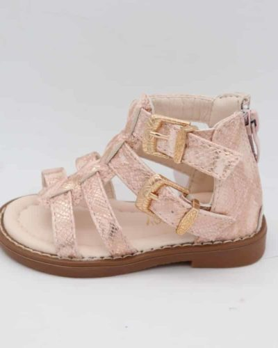 Rose Gold Snakeskin Gladiator Sandals