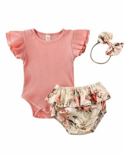 Itty Bitty Flower Print Ribbed Bodysuit Summer Set