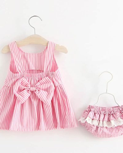 Itty Bitty Pink & White Stripes Baby Girl Summer Set