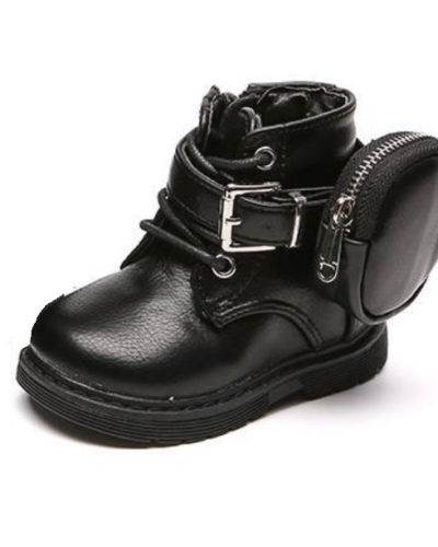 Itty Bitty Chunky Black Boots With Ankle Pouch