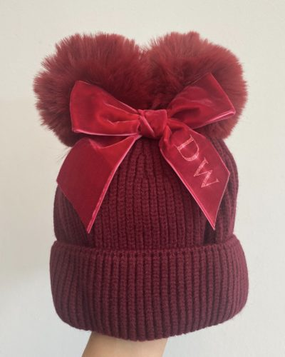 Itty Bitty Red Personalised Bow Hat