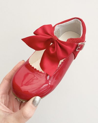 Itty Bitty Red Bow Mary Jane Shoes