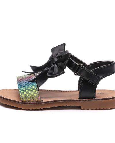 Glitter Paloma T Bar Diamante Black Bow Sandals