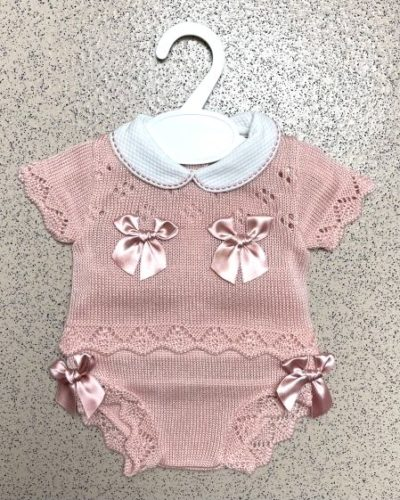 Dusty Pink Spanish Bow 2 Piece Knitted Romper